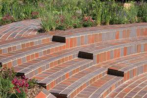 Tiled amphitheatre seats in Beech Gardens