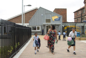 School entrance at hometime