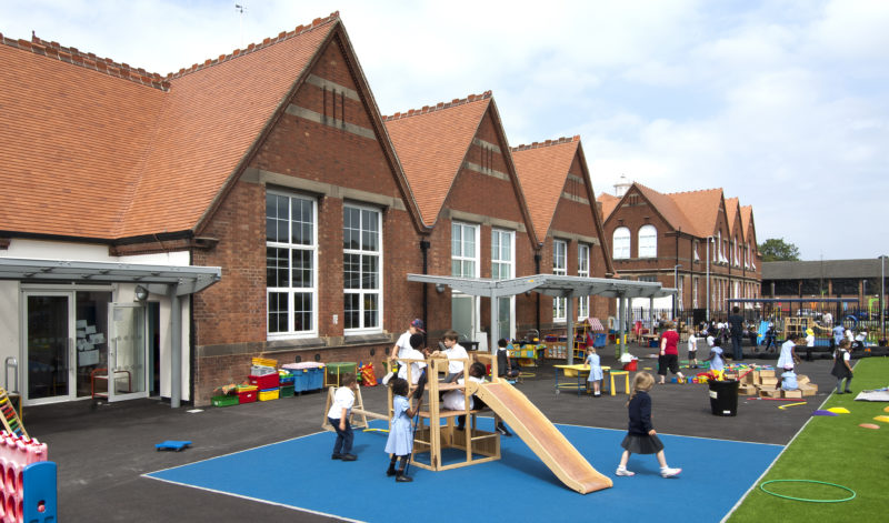 Exterior of school at playtime